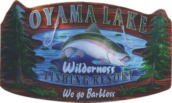 Oyama Lake artist painted,custom made,sandblasted cedar sign by Conor Signs Vernon BC