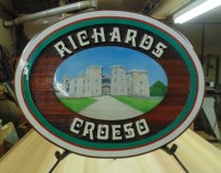 Cedar sign sandblasted artist painted.Wedding sign for a nice couple in Wales we ship worldwide.Condor Signs Venron BC.