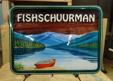 Cedar wood sign custom made designed and artist painted by Condor Signs Vernon BC Canada