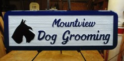 Mountview Dog Grooming Sandblasted cedar sign for Vernon BC.This sign was handcrafted by Condor Signs Vernon BC.