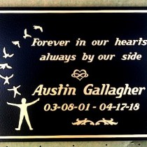 bronze metal memorial plaque grave marker for BC by Condor Signs
