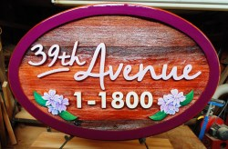Message therapist sign for 39th avenue massage therapy in vernon bc.Sandblasted cedar and artist pianted by condor signs vernon BC.Wood signs of all kinds.