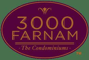 3000 Farnam Logo Sepia Lettering on Burgundy Background