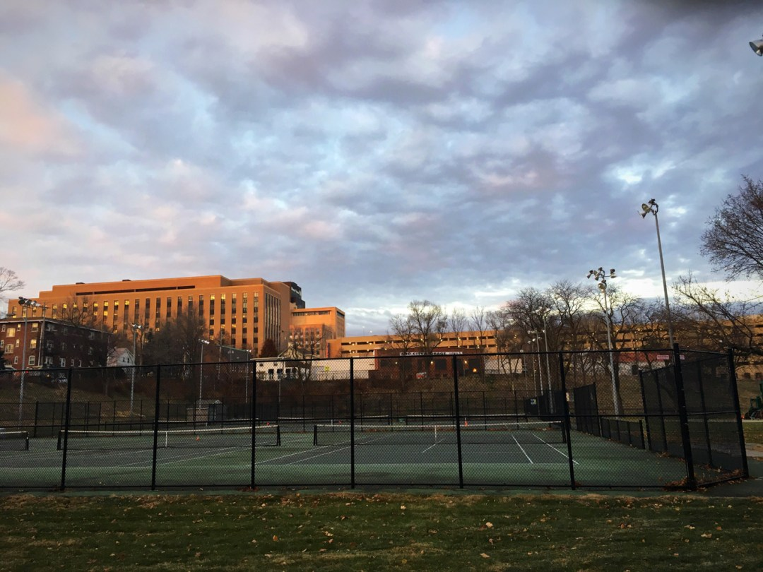 Update on Active Commuting in Omaha! - Walking Past the Dewy Park Tennis Courts