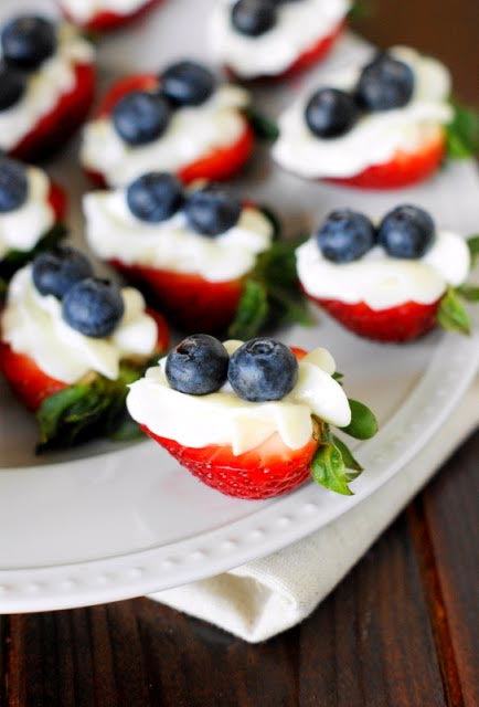 Red White and Blue Strawberry Cheesecake Bites for a Romantic President's Day in Omaha