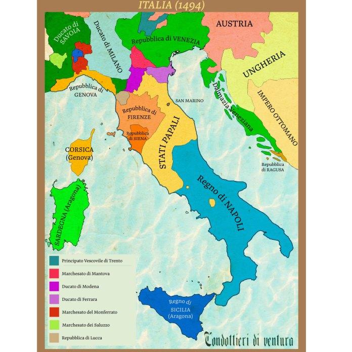 Mappa Italia rinascimentale 1494