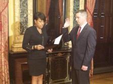 Mayor Rawlings-Blake swearing in Costello, Courtesy of WYPR