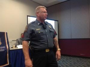 Corporal Hickman Showcasing a Police Worn Body Camera