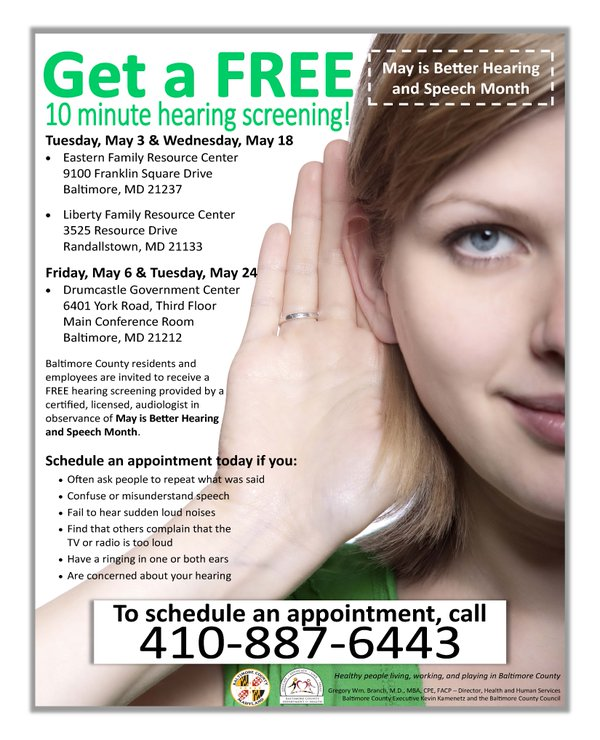 Baltimore County OfferingFree Hearing Screenings for Better Hearing and Speech Month