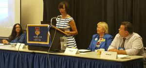 From left to right: Nesreen Kashan, Mayor Pugh, Pattie Tingle, and Delegate McKay