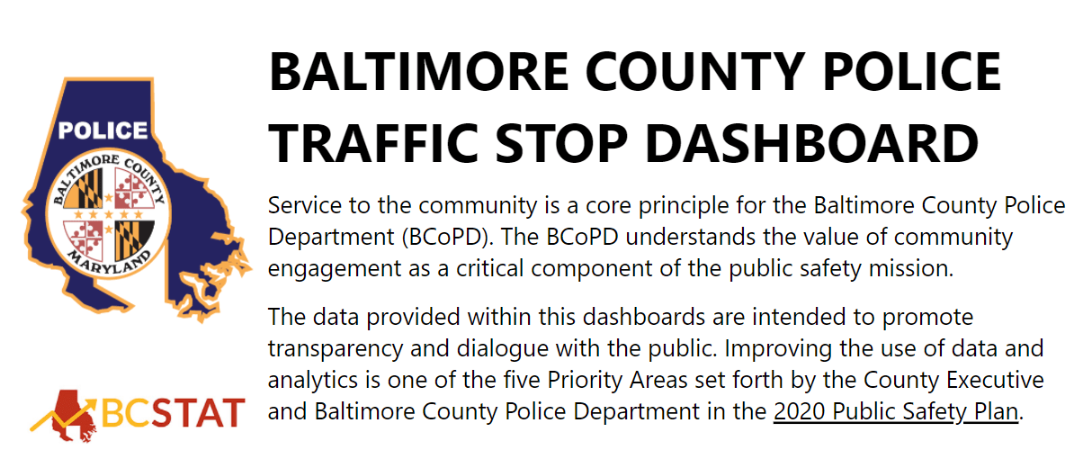 Baltimore County Launches Traffic Stop Dashboard