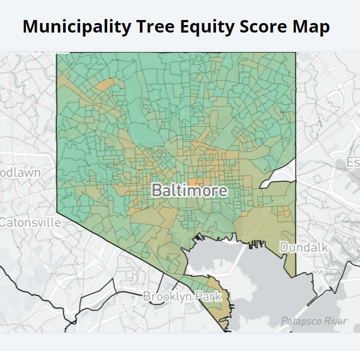 Maryland Communities Fall Short of Tree Equity