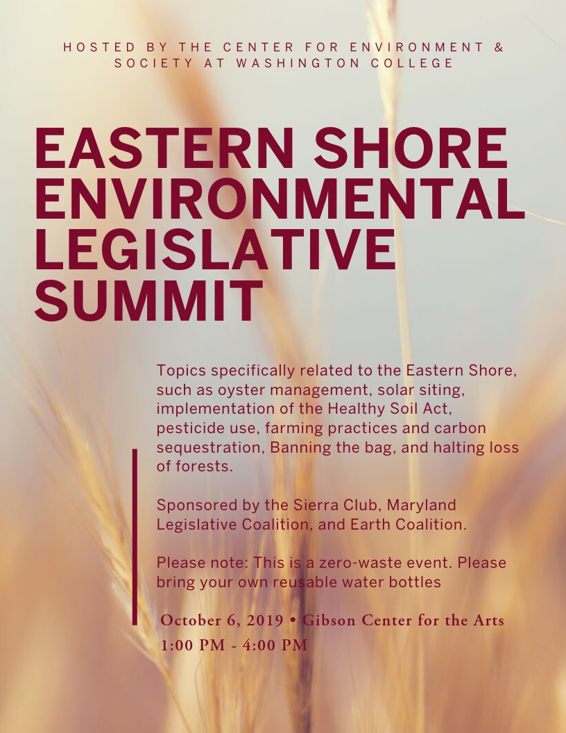 Washington College to host Eastern Shore Environmental Legislative Summit Oct. 6