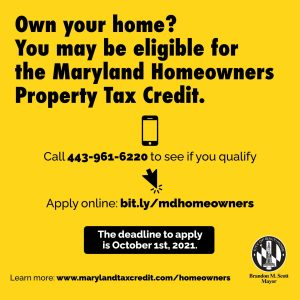 Baltimore City Encourages Residents to Apply for Homeowners Tax Credit
