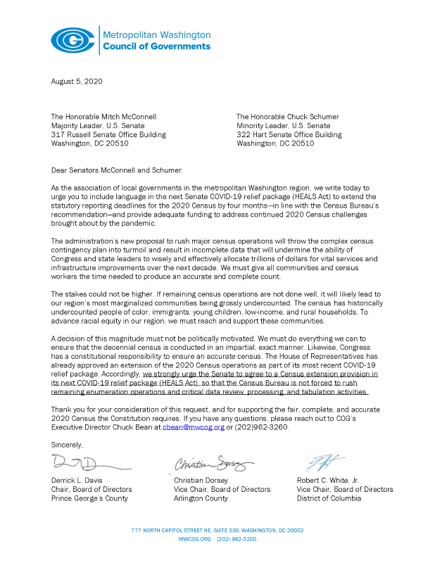 Metropolitan Washington Council of Governments Urges Senate to Extend 2020 Census Deadline