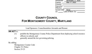 Montgomery Council Introduces Bill to Prohibit School Resource Officers