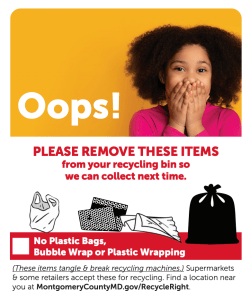 """Montgomery """"Oops Tag"""" Program Reduces Non-Recyclable Materials Sent to Recycling Center"""