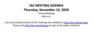Maryland Interagency Commission on School Construction – November 12, 2020 Agenda