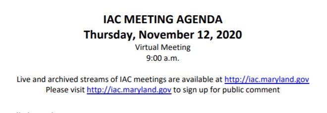 Maryland Interagency Commission on School Construction – November 12, 2020 Agenda