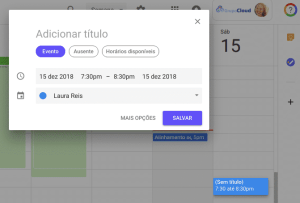 criar evento Agenda Google