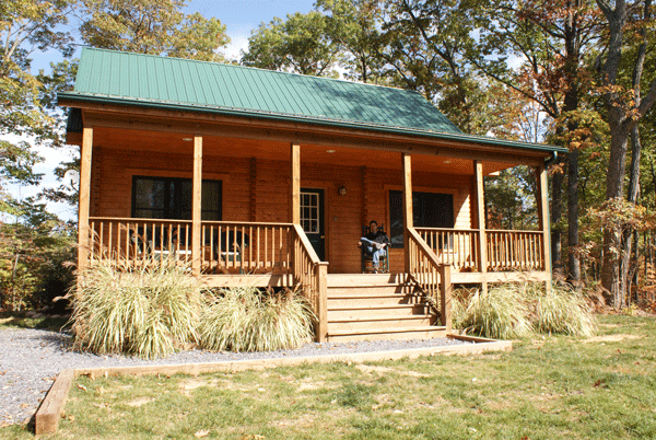 Small log cabin exterior with porch