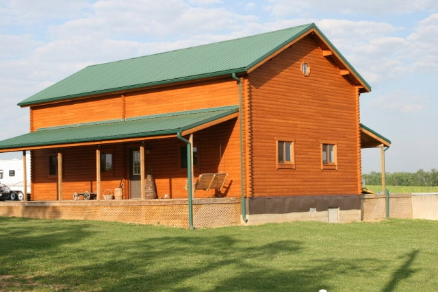 Sequoia log house right perspective exterior
