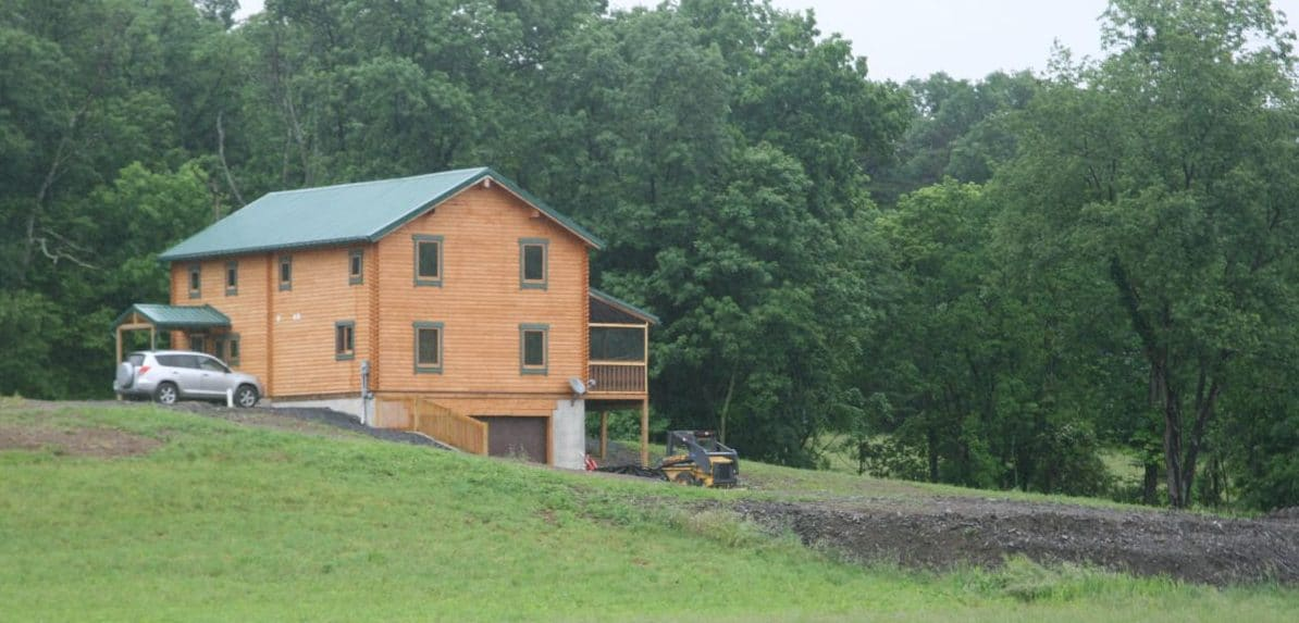 Squoia log home from a distance