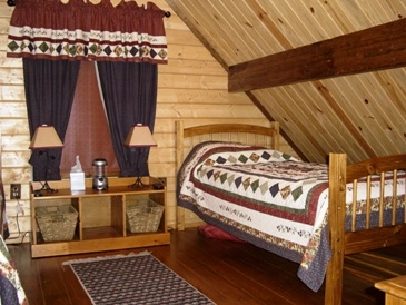 log cabin loft with bed