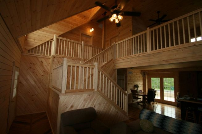 log house stairs - log cabin kit cost
