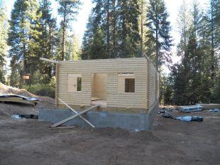 Boy Scout log cabin build