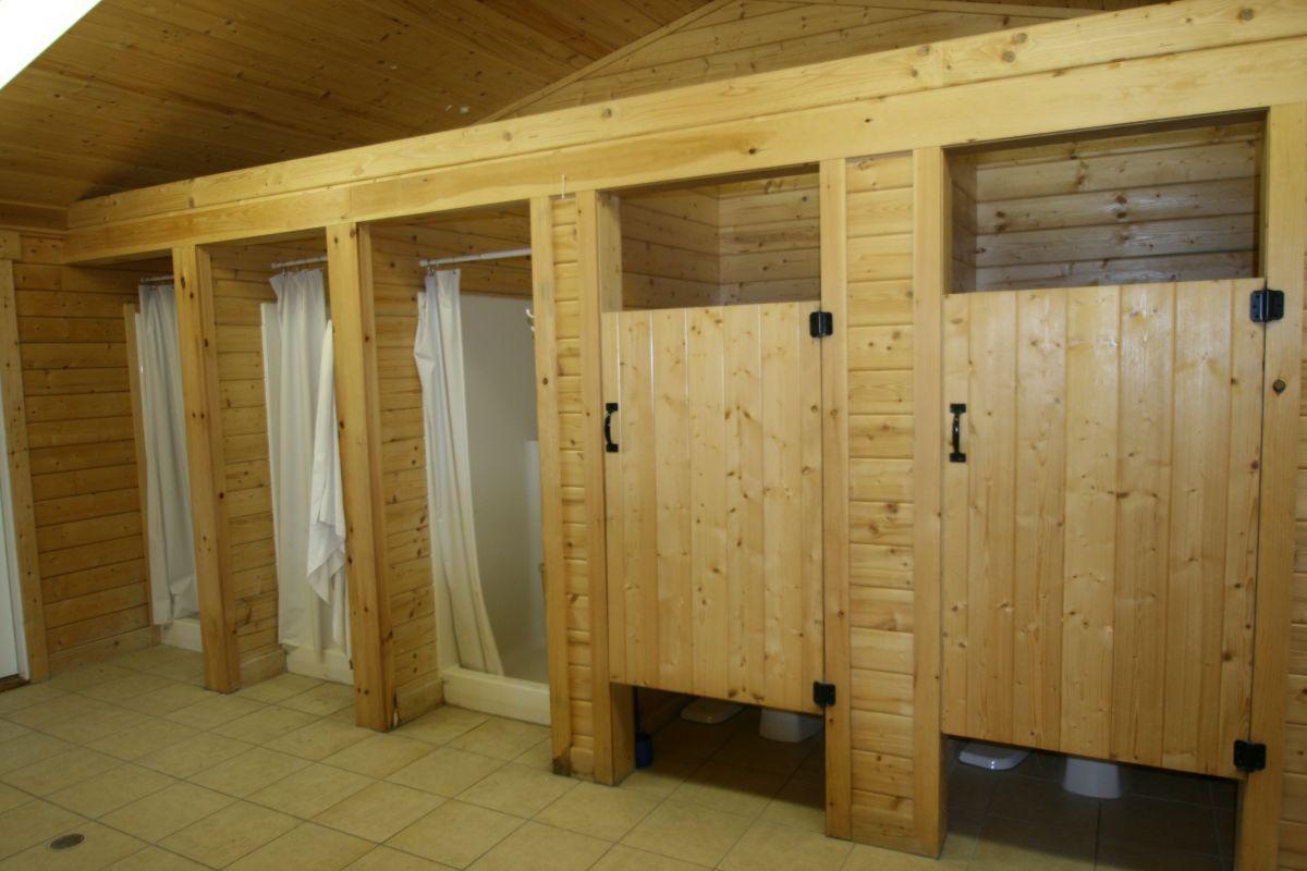 log cabin restroom