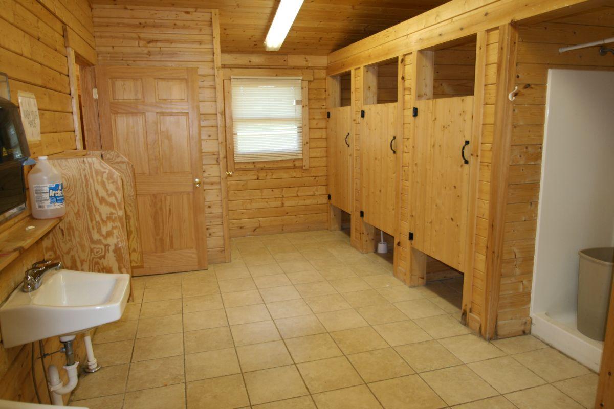 log cabin public bathroom