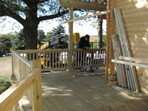 log cabin deck - railing
