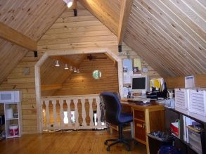 log cabin loft office corner desk