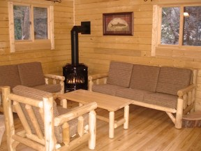camping cabin interior; energy efficient log cabin