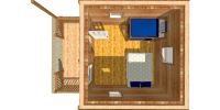 log cabin kits floor plan - pioneer