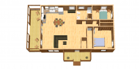 log home kits floor plan - Riverview