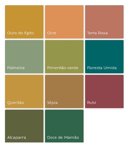 Cartela de cores da Tintas Suvinil. Grupo de cores que são tendencias para 2019.