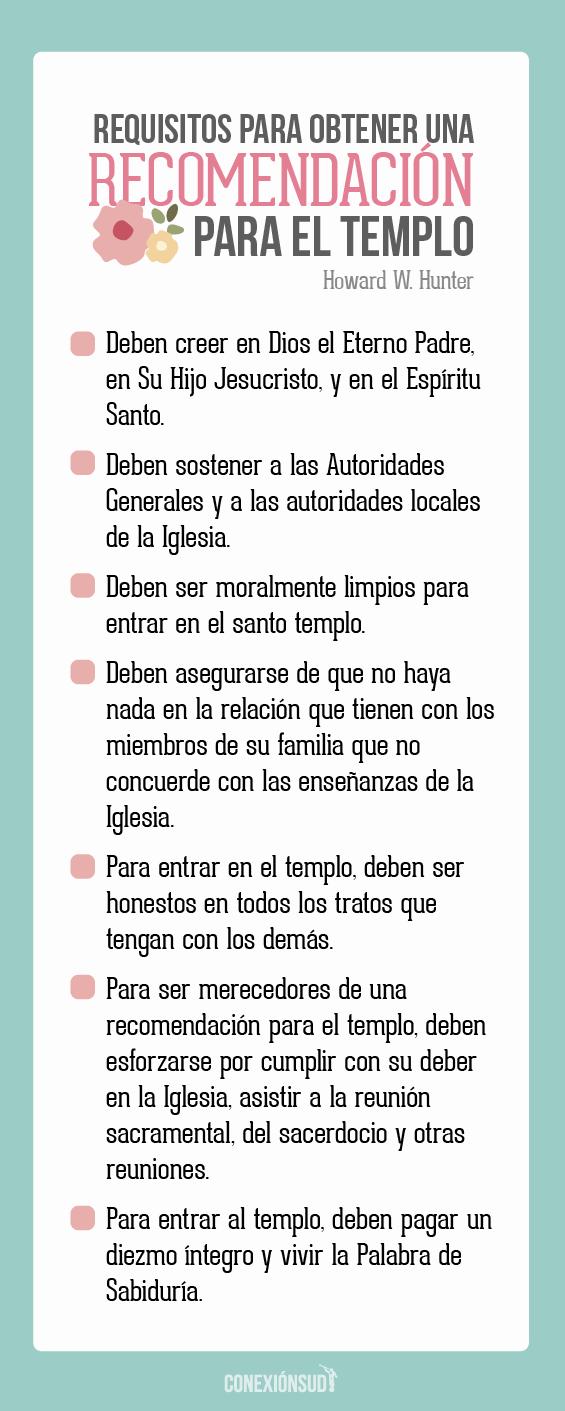 requisitos para obtener una recomendacion para el templo_Conexion SUD
