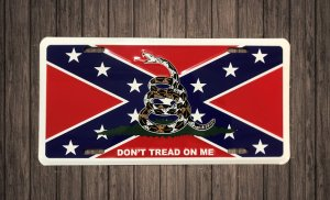 aluminum license plate southern flag