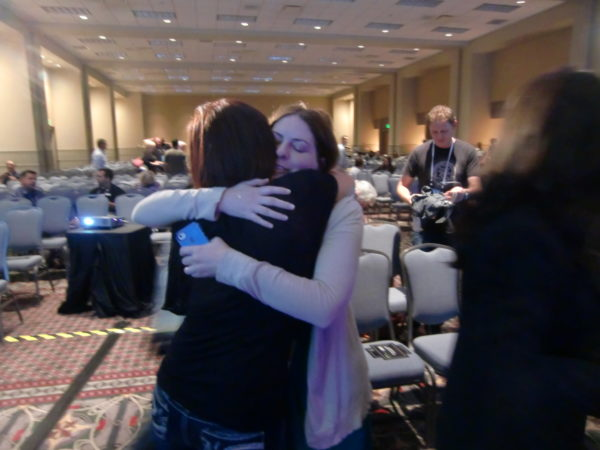 Rae Dolan Post Keynote Hug in Philadelphia