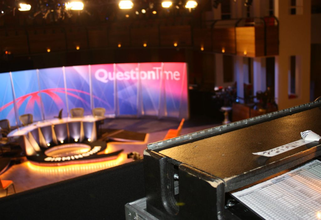 Filming BBC Question Time in The Bramall