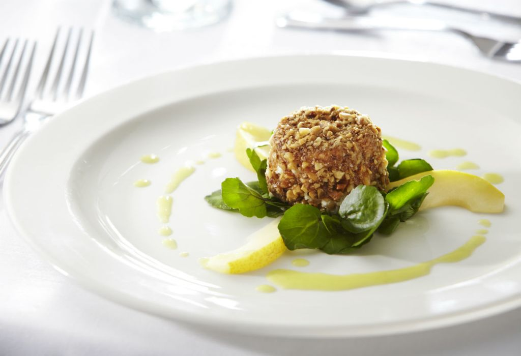 Business dinner catering, walnut coated goats cheese and poached pear