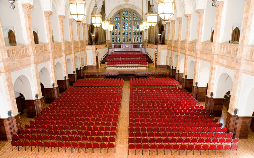 Theatre style layout in the Great Hall