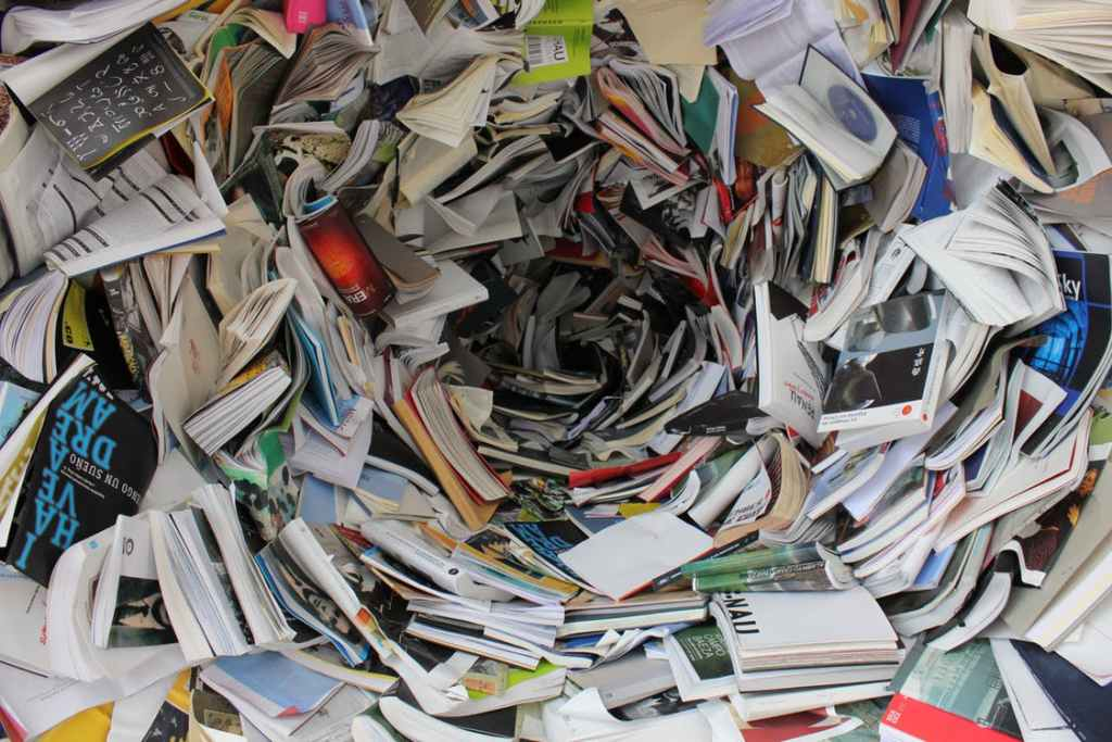 Pile of books and paper