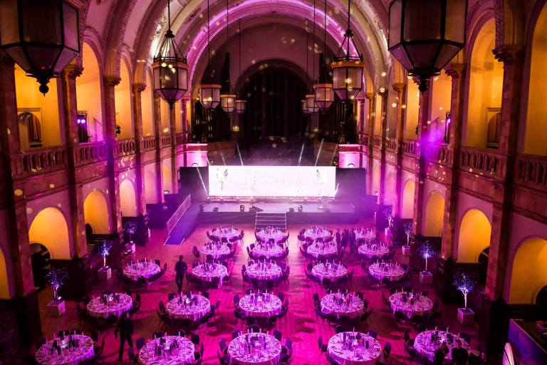 The Great hall set up in dinner arrangement