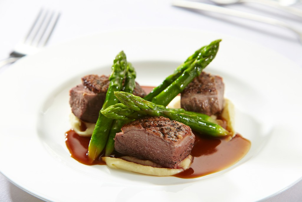 Plate of duck and asparagus