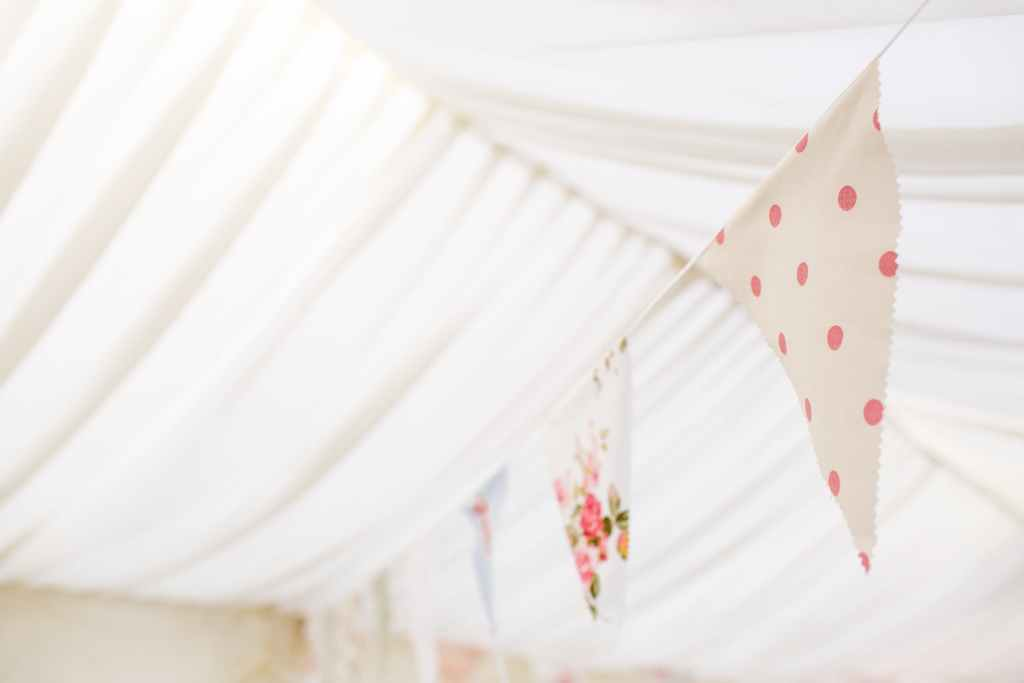Bunting hanging in a marquee