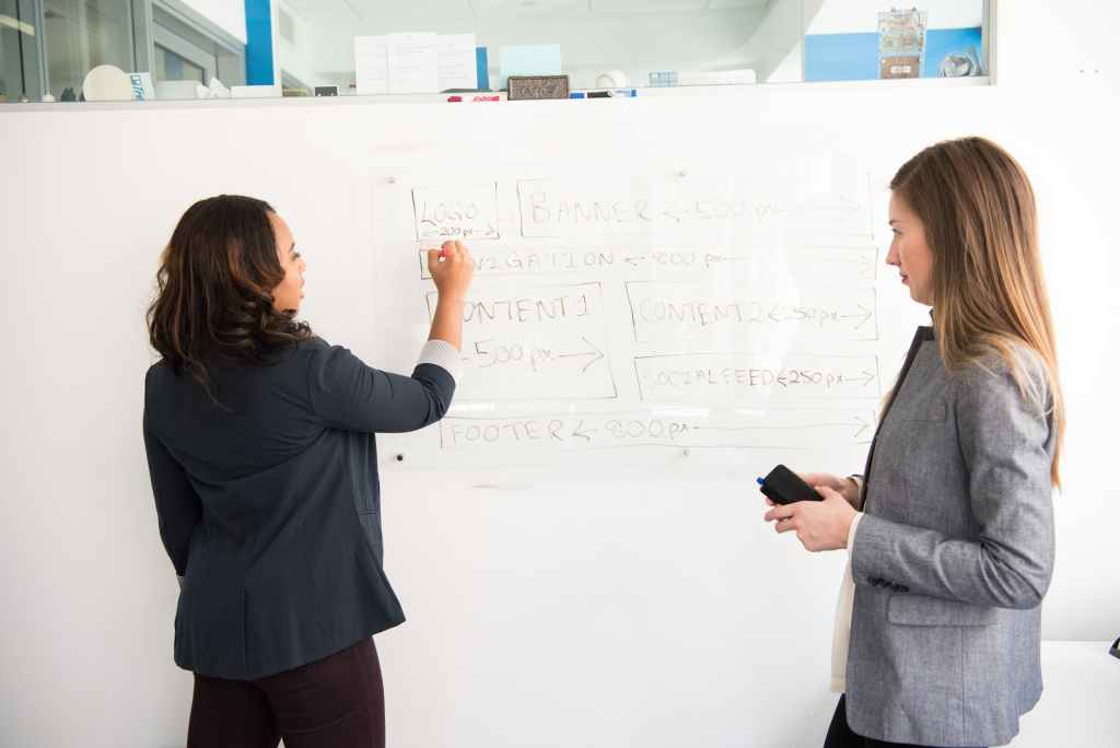Women brainstorming on a whiteboard