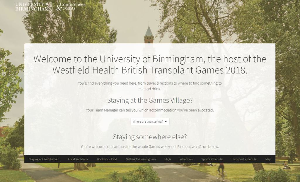 British Transplant Games website screenshot
